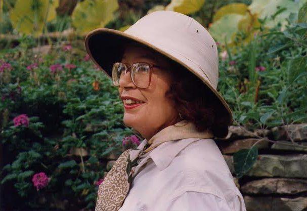 Barbara Mertz in her garden