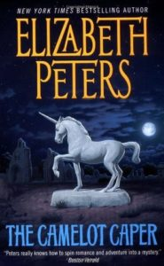 The cover of The Camelot Caper depicts a statue of a unicorn under a full moon.