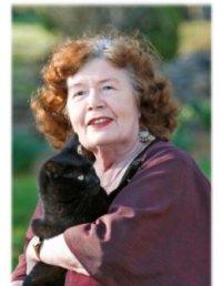 Barbara Mertz and her cat, Sethos